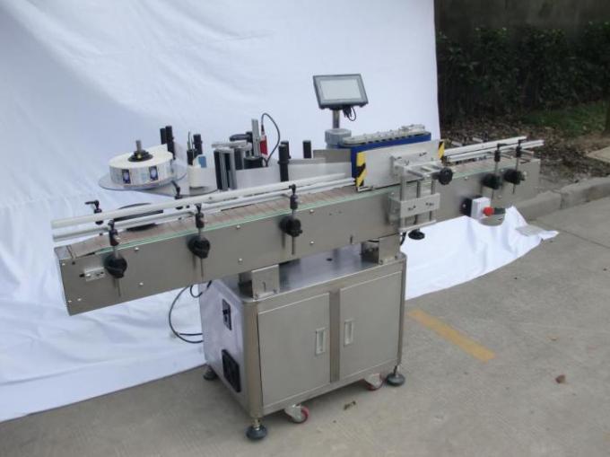 Automatisk rund flaskemærkningsmaskine til ikke-tør lim, trækasse / eksportemballeringsmærkningsmaskine til CE