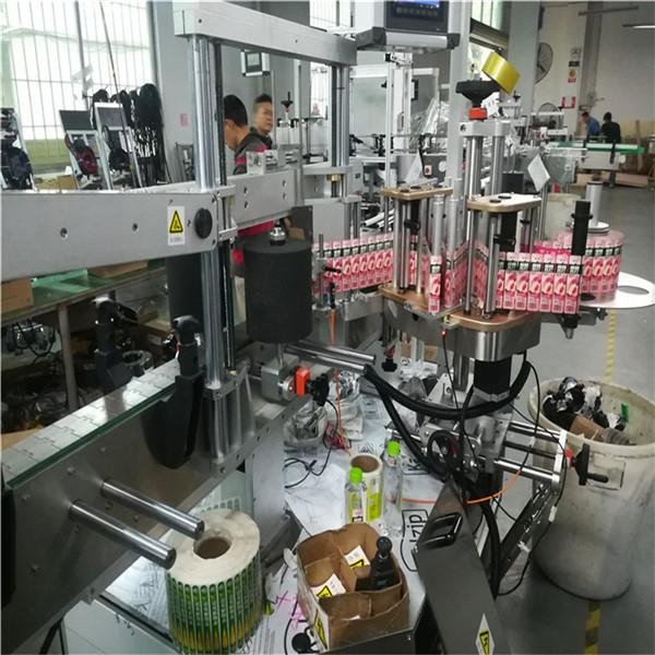 Automatisk tosidet mærkningsmaskine til flad firkantet flaskekrukke