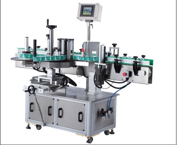 Tryksensitiv rund flaskemærkatmærkningsmaskine, lodret omvikling af etiketapplikator