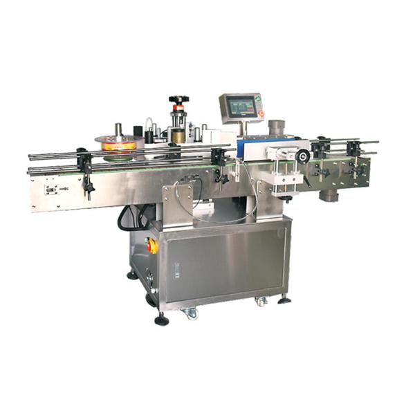 Automatisk rundrørsklistermærke vikles rundt om lille flaskemærkningsmaskine