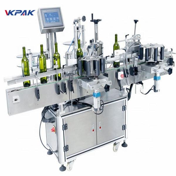 Multifunktionel stok rund flaskemærkningsmaskine til rødvin PLC-kontrol