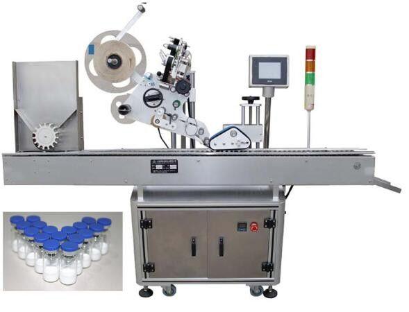 Kina 10 ml lille flaskemærkningsmaskine med PLC-drift, penicillin-mærkatmaskine til lægemiddelleverandør