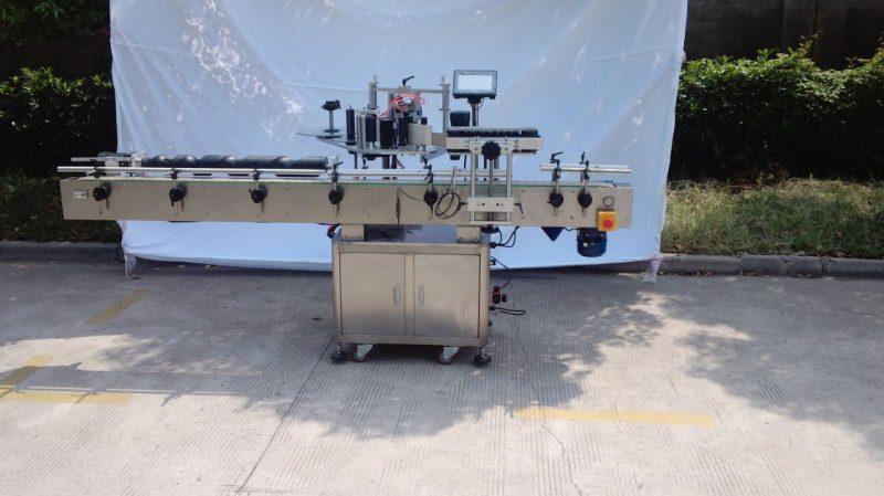 Kina Automatisk rund flaskemærkningsmaskine til ikke-tør lim, trækasse / eksportemballeringsmærkningsmaskine til CE-leverandør