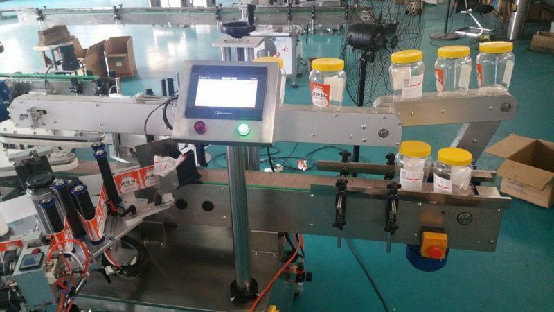Kina automatisk rund flaske dobbelt side klistermærke mærkning maskine til ølflaske leverandør