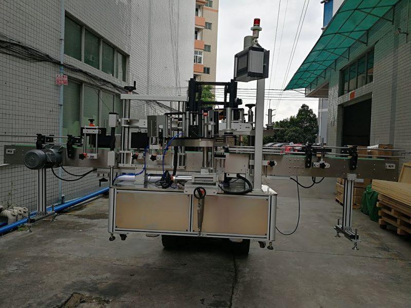 Kina automatisk dobbelt side klistermærke mærkning maskine etiket applikator til plastkrukke leverandør