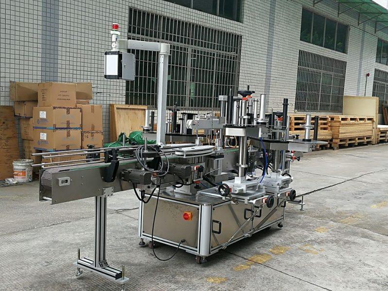 Kina CE glasflaske mærkning maskine, mærkat foran og bag mærkning maskiner til runde glasflasker leverandør