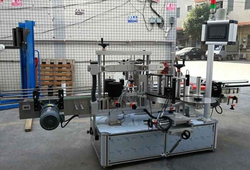 Kina Selvklæbende cylindrisk / oval flaskemærkemaskine med PLC-berøringsskærm leverandør