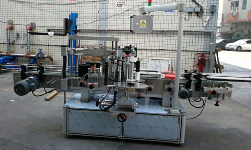 Kina dobbelt side klistermærke elliptisk oval flaske automatisk mærkning maskine 1200W leverandør