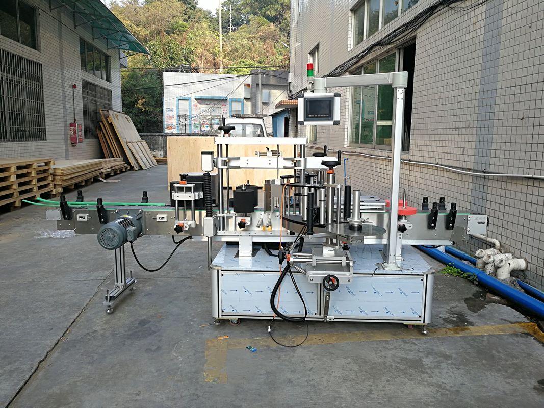 Automatisk mærkat flad flaskemærkningsmaskine integreret foran og bagpå